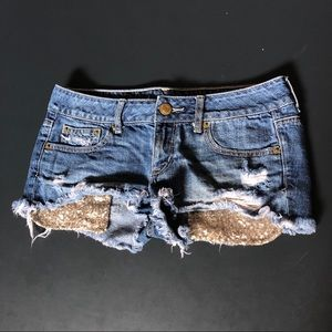 American Eagle Jeans Shorts w Sequin Pockets